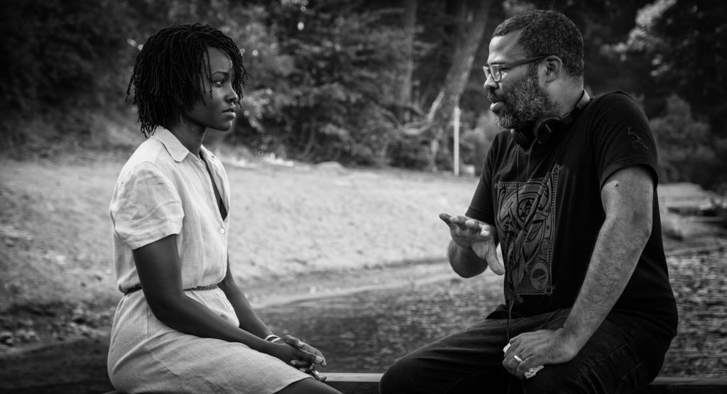 Lupita Nyong'o and Jordan Peele on the set of Us, written, produced and directed by Peele.